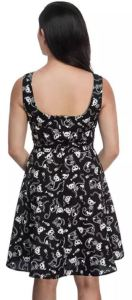 Looks almost normal in regular light, except for a few rat skeletons thrown into the mix. Glow-In-The-Dark Skeleton Kitty Skater Dress, back view. thinkgeek.com.