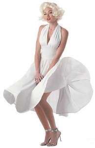 Sexy Marilyn Monroe Costume is great for a classic Marilyn. Just add Platinum Wig, High Heels, and Best Friends (aka Diamond Jewelry). Or use this 50's style dress for a variety of other great retro costume looks. orientaltrading.com.