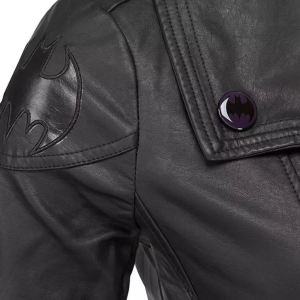 More Bat Girl Jacket details include authentic Bat logo patch on the shoulder, a glossy purple Bat button on the lapel, and Bat logos on the zipper pulls. thinkgeek.com.