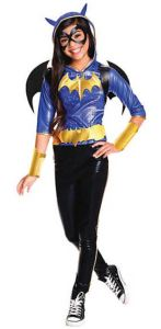 Tricked out, but still safely sensible for wear. Girl's Deluxe Batgirl Halloween Costume has comic-book flair, with a glossy, ghoulish purple and black color scheme, highlighted with Pop-Art bright yellow to keep her visible during night-time Trick-or-Treat adventures. orientaltrading.com.