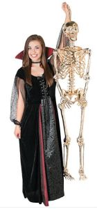 Just the right escort can be a difficult accessory to find for your Halloween evening plans. How about this guy? He's as good as gold, and wants to hang with you. Large Gold Poseable Skeleton can also sit across from you at the restaurant, and accompany you to symphony, where he'll sit quietly, not mumbling about how he's missing his guild's Hallow's End instance. orientaltrading.com.