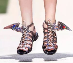 Sadly, these don't actually hover. Winged Gladiator Sandals feature a removable wing on the outside of each sandal at the ankle. Available in either celestial Holographic, or bat-like Black, both are excellent options for a variety of Halloween costumes requiring a finishing footwear touch that is still practical. Your investment is useful after Halloween, as these can be worn without the wings. Why you'd want to wear them without the wings, I can't imagine, but hey the option is there....thinkgeek.com.