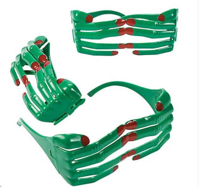 Kids love dress-up play accessories. Creepy Hand Eyeglasses create the spooky effect of a monster reaching from behind to cover your eyes. Guess whooooo? Not just for handouts, these are fun party favors or kid-sized props for your photo booth too. orientaltrading.com.