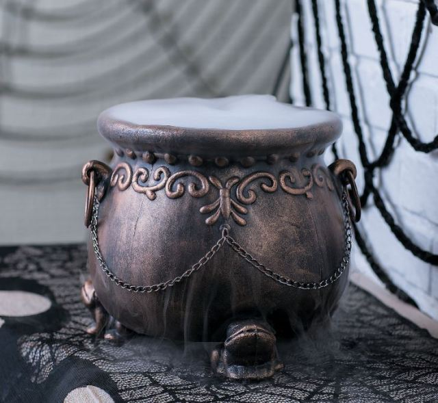 An iconic treats bowl for Halloween matters. It ups the fun factor when you're handing out goodies to the little ghosts and witches who come knocking on your door. This cute Glitzy Cauldron features an antiqued gold finish with scrollwork, handle rings, chains, and even toad-shaped feet. Obviously, it's also great for multiple display uses. orientaltrading.com