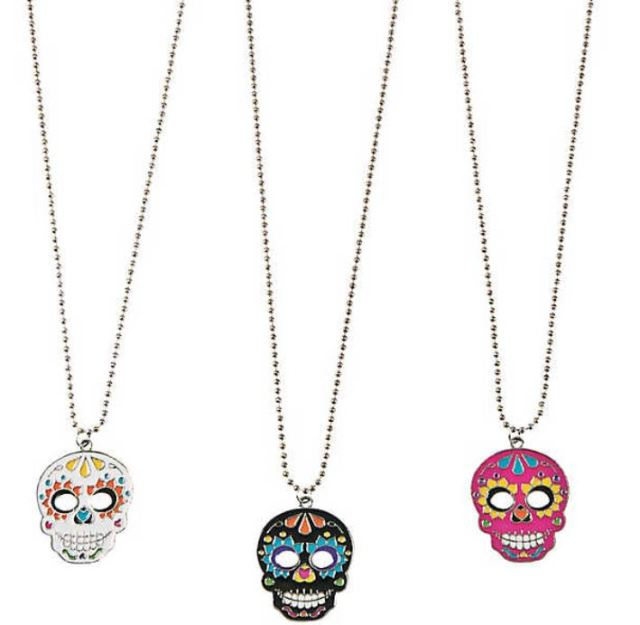 Cute favors or handouts for tweens, metal and enamel Day Of The Dead Necklaces fit teens and adults too. $11.99 per dozen at orientaltrading.com.