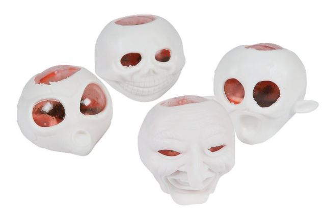 For ShoppingGirls who know that their neighborhood Trick-or-Treaters want delightfully gross handouts, consider these Squishy Heads With Worms. Just squeeze the goulish fellows to squish clear brain cases filled with blood and maggots out through the skulls and eyes. All faux, of course. orientaltrading.com.