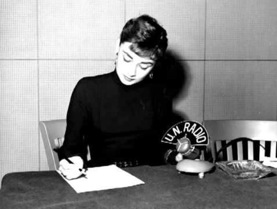 Fashion and beauty icon Audrey Hepburn served as an UNICEF Goodwill Ambassador. 1953 photo at the United Nations, via Pinterest.