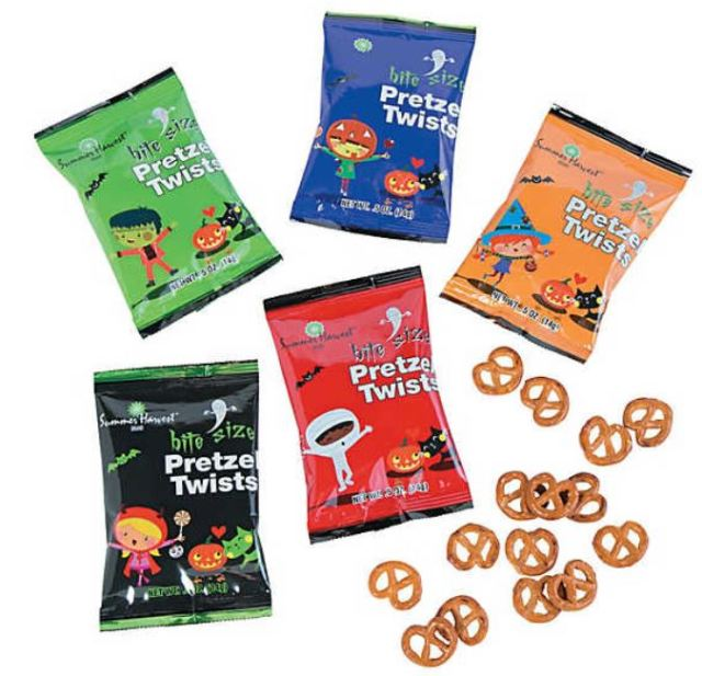 Not into handing out sugary treats? These Halloween Pretzel Packets are highly rated as being fresh and tasty. Reviewers note that there is a goodly amount in each packet, and that children love them. Set of 48 individual packets. orientaltrading.com