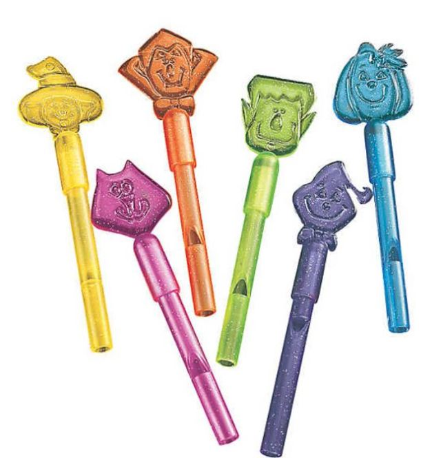 Halloween Whistles are incredibly popular with kids. They are cute, work well, and provide the children with a safety gadget all rolled into one fun little toy that they can use long after Halloween has passed. Super-affordable handouts are under $8.00 for a set of 72. orientaltrading.com.