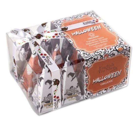 If you'd like to have a treat for teens or adults who come to your door, how about these charming English organic tea bags? The set of 12 includes three different flavors, wrapped in cute seasonal printed paper in a distinctive tall pyramid shape. The box would make a festive hostess gift or delightful carnival prize. Halloween Tea Bags from England. vermontcountrystore.com.