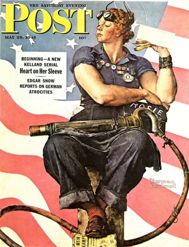 "Norman Rockwell's illustration of Rosie the Riveter made the cover of the ""Saturday Evening Post"" in 1943. Rosie stood then, and still stands today, as a symbol of the ability of women to get it done, whatever it is. Photo via nrm.org."