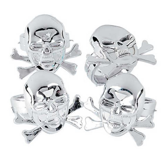 Skeletons and Halloween go together like the hip bone connected to the knee bone....Super-shiny kids' Pirate Skull Rings are timeless handouts for Trick-or-Treaters, and are good after Halloween for stylish pirate adventures too. The set of 48 is only $6.49. orientaltrading.com.