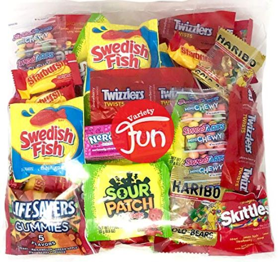 Strangely enough (to my mind, anyway), chocolate is not the absolute favorite treat choice of every single person on Earth. For 2018, you will be covered by adding this assortment to your chocolate arsenal for Trick-or-Treaters. It includes the current non-chocolate favorites. You can get the assortment in three different sizes. Sold by VarietyFun via Fulfilled by Amazon. amazon.com