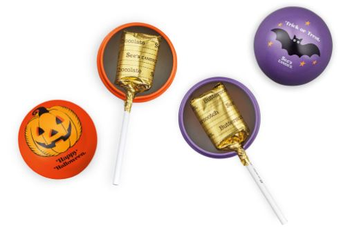 Spoil Trick-or-Treaters with a Trick Or Treat Lollypop in its own colorful tin box. See's lollypops are intensely flavored, chewy caramel-like delights in Chocolate or Butterscotch flavors. The festive small tins will be treasured mementos and, considering See's history and popularity, may even be valuable one day. seescandies.com