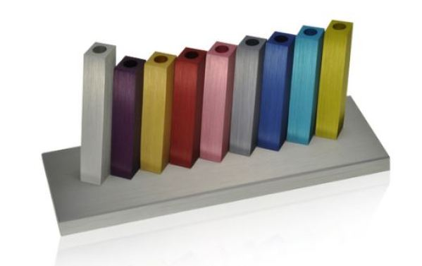 Multicolored Kinetic Design Menorah by Adi Sidler. https://www.worldofjudaica.com/jewish-holidays/hanukkah/menorah/p_hanukkah_menorah_multicolored_kinetic_design_by_adi_sidler#!#p=46029