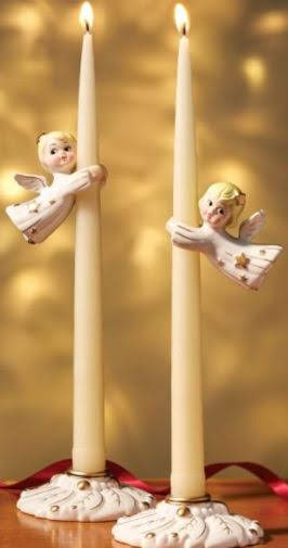 "This cute set features four pieces: Two bases to hold tapers (not included), and two angel ""huggers"" that fit over the candles. The angels seem to hover in mid-air. With a retro look and soft, glimmering metallic accents, these delightful little Christmas friends will be welcome sights every year in your holiday decor. 4 Piece Set Flying Angel Candle Huggers And Bases. Vermontcountrystore.com"