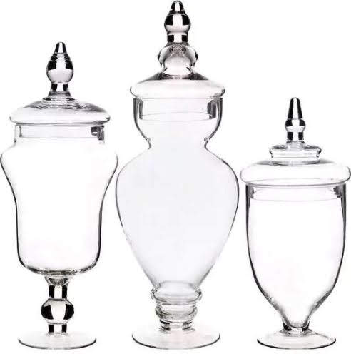 Palais Glassware Set of 3 Clear Glass Apothecary Jars at Overstock.com
