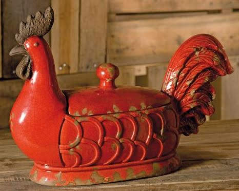 Parker Large Red Ceramic Lidded Rooster Dish at Overstock.com