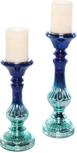 Also available in Blue and Teal Ombre, the Poetic Wanderlust by Tracy Porter Meadowlark Mercury Glass Candleholders Set is great for a wintery decor look. Overstock.com