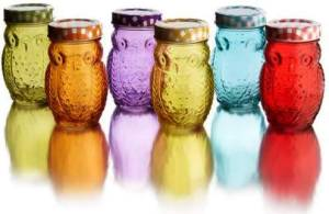 Set of 6 Colored Glass Owl Jars at Overstock.com