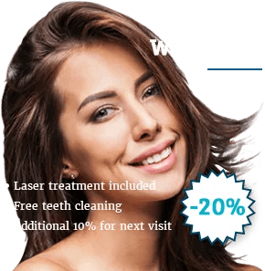 teeth whitening banner with female