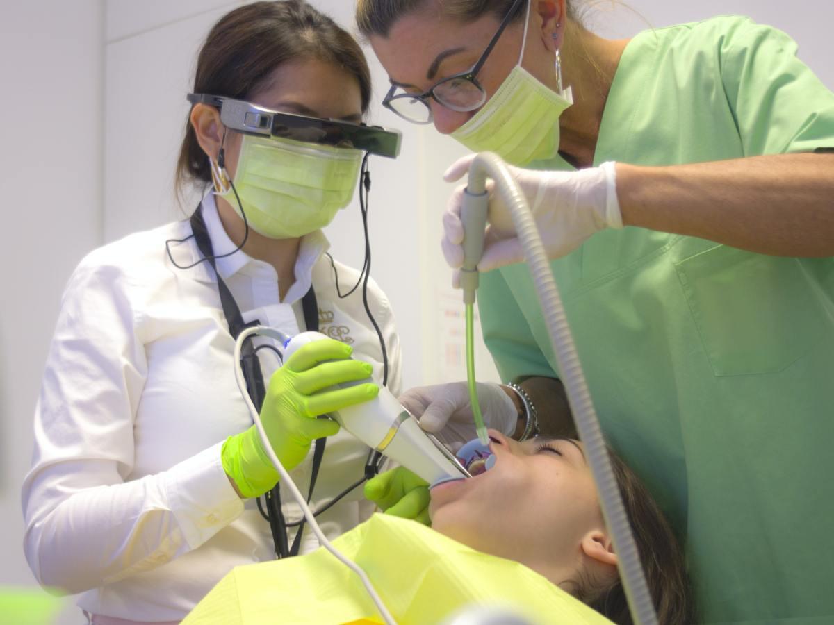 family dentist working