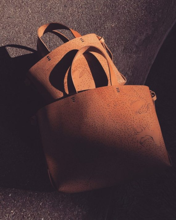 illustrated leather tote bag