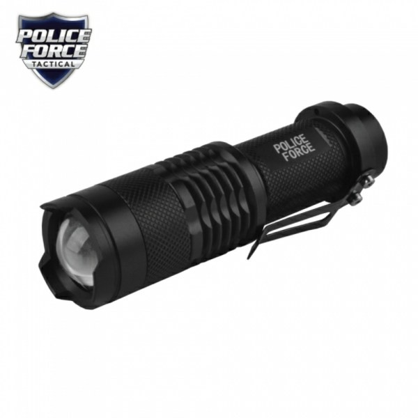 Police Force Mini Tactical Flashlight with Slide Zoom