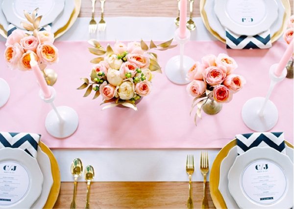 Radiant Table Setting With Gold Details Chevron Wedding Pinterest Bridal Shower