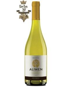 Rượu Vang Chile Aliwen Reserva trắng khi nhìn sẽ thấy có màu vàng hấp dẫn. Rượu mang hương vị của vang mềm