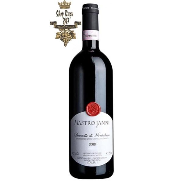 Rượu Vang Ý Mastrojanni Brunello di Montalcino khi nhìn sẽ thấy có màu đỏ đẹp mắt. Rượu mang hương thơm