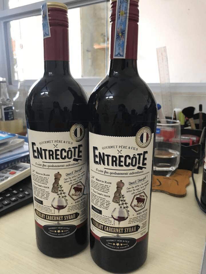 Bán rượu Vang Pháp Entrecote Melot Cabernet Syrah tại An Giang ưu đãi nhất