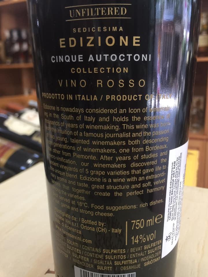 Nhập khẩu rượu vang Ý 16 Edizione Limited Release tại Hải Phòng giá tốt nhất