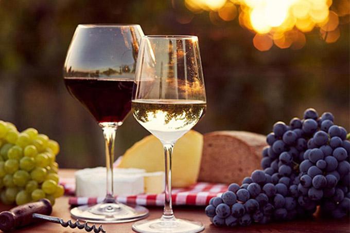 Hình ảnh rượu vang đỏ và chùm nho (shopruou247.com)