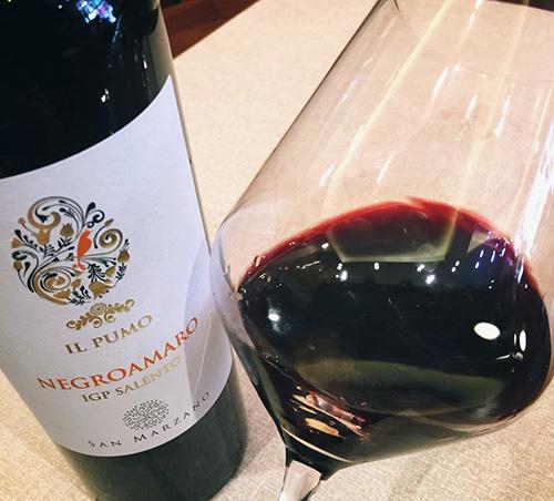 Rượu Vang IL Pumo Negroamaro với chiếc ly nghiêng