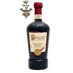 Rượu Vang Đỏ Bollato Negroamaro Primitivo IGP Puglia có mầu đỏ sẫm sặc sỡ. Hương thơm của anh đào chín, mâm xôi, vani với gợi ý của thuốc lá.