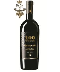 100 Essenza Primitivo Di Manduria có mầu đỏ ruby đậm sánh. Hương thơm quyến rũ của dâu, mứt và anh đào. Hương vị thơm ngon, chát nhẹ và dễ thưởng thức.