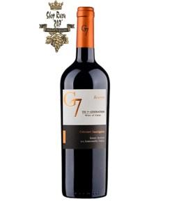 G7 Reserva Cabernet Sauvignon có mầu đỏ của dâu tây. Hương thơm của cà phê, ca cao cùng các ghi chú của vani