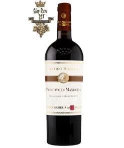 Rượu Vang Đỏ Antico Sigillo Primitivo di Manduria có mầu đỏ cực kì đẹp mắt. Hương thơm rõ ràng của dâu đen chín, dâu tằm và anh đào xen lẫn