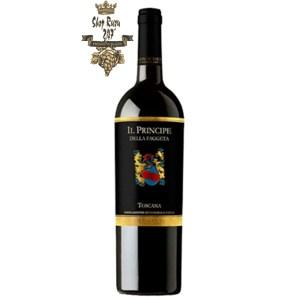 Rượu Vang Ý Il Principe Della Faggeta 2014 có mầu đỏ ruby rực rỡ. Hương thơm nổi bật và phức hợp giữa hương trái cây và vị cay trên nền hương vani