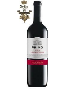 Rượu Vang Đỏ FARNESE Primo Sangiovese – Merlot có mầu đỏ của ruby. Hương thơm mãnh liệt và dai dẳng của trái cây anh đào, mận và mùi hương vani .