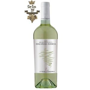 Rượu Vang Trắng Le vigne di Sammarco Malvasia Bianca Salento có mầu vàng rơm với điểm nhấn xanh lá. Hương thơm phức tạp