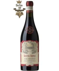 Rượu Vang Đỏ Santa Sofia Amarone della Valpolicella có mầu đỏ hồng ngọc mạnh mẽ. Hương thơm của hoa mãnh liệt cùng hương vị tinh tế, đây dủ, mượt mà.