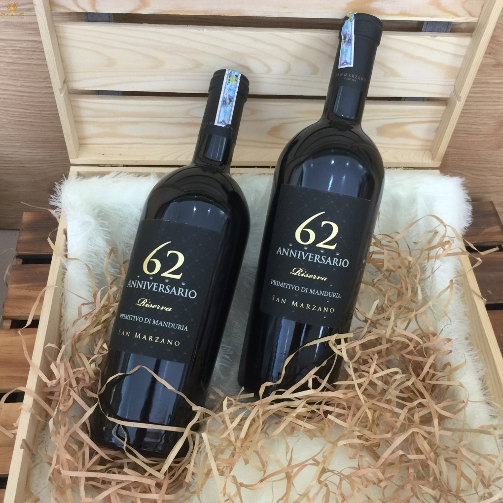 2 Chai Rượu vang Ý Đỏ 62 Anniversario Primitivo Trong Hộp Đựng Gỗ Sồi