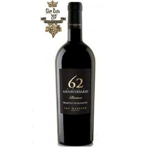 Rượu vang Ý Đỏ 62 Anniversario Primitivo, rượu vang đỏ được làm từ giống nho Primitivo