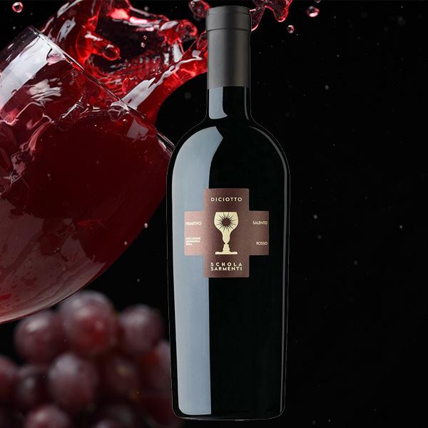Chai rượu vang Diciotto (18% cồn) có mầu đỏ ruby đậm