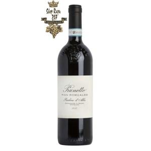 Rượu Vang Ý Đỏ Prunotto Pian Romualdo Barbera dAlba DOC có mầu đỏ hồng ngọc đậm. Hương thơm lan tỏa của hoa quả chín đen cùng gợi ý của gia vị