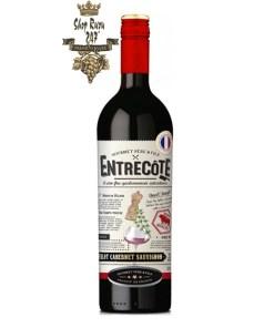 Rượu Vang Đỏ Pháp Entrecote có màu đỏ thẫm tuyệt đẹp với màu tím. Trên mũi nó thơm và phức tạp với mùi hương của mâm xôi