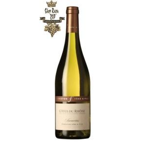 Rượu Vang Trắng Ferraton Cotes du Rhone Samorens White có mầu vàng nhạt tươi sáng. Hương thơm của các loại hoa trắng và trái cây trắng.