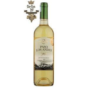Rượu Vang Trắng Paso Los Andes Selection Sauvignon Blanc có màu vàng nhạt. Hương thơm của trái cây nhiệt đới họ cam quýt